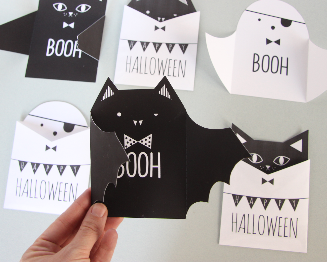 3_bat_ghost_cat_boo_halloween_invitations